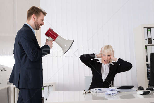 Főnök kiált üzletasszony hangfal fiatal iroda Stock fotó © AndreyPopov