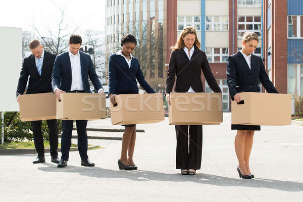Unemployed Businesspeople With Cardboard Boxes Stock photo © AndreyPopov