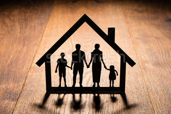 Papercut Of House With Family In It Stock photo © AndreyPopov