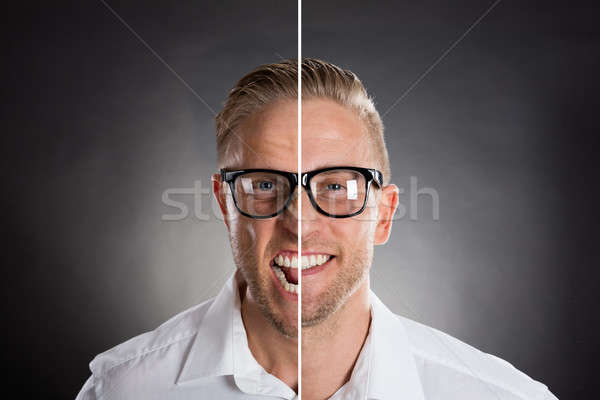 Man's Face Showing Anger And Happy Emotions Stock photo © AndreyPopov