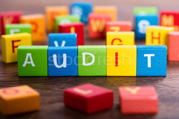 An Audit Concept On Colorful Blocks Stock photo © AndreyPopov