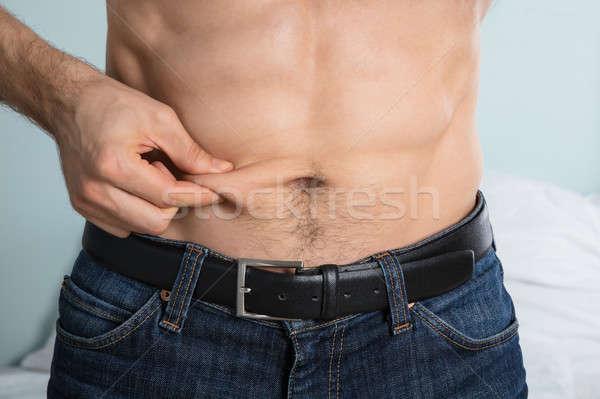 Persona grasa vientre primer plano hombres Foto stock © AndreyPopov