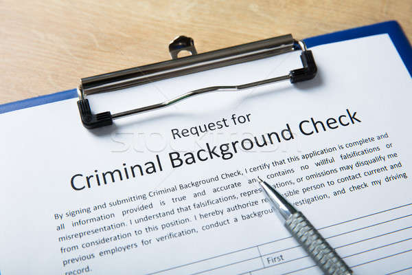 Criminal Background Check Application Form With Pen Stock photo © AndreyPopov