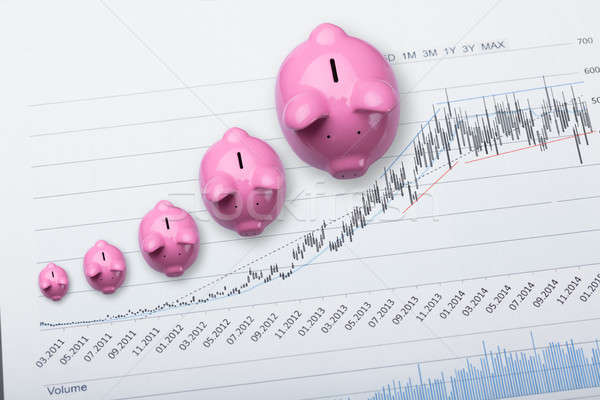 Сток-фото: розовый · Банки · финансовых · диаграммы