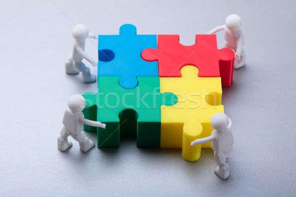 Emberi kirakós játék tarka szürke megbeszélés munka Stock fotó © AndreyPopov