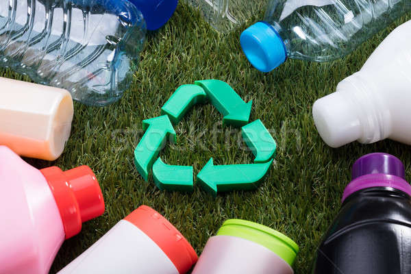 High Angle View Of Green Recycle Symbol On Grass Stock photo © AndreyPopov
