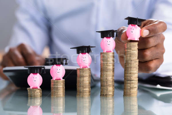 Businessperson Placing Piggybank On Coin Stacked Stock photo © AndreyPopov
