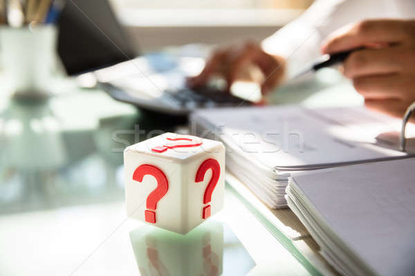 Cubic block with question mark sign Stock photo © AndreyPopov