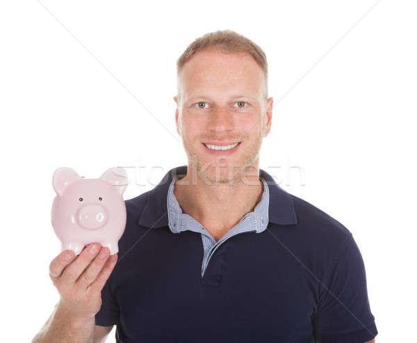 Stockfoto: Jonge · man · spaarpot · portret · geïsoleerd · witte
