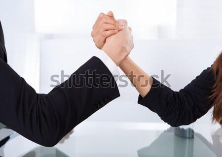 Negocios colegas pulseada primer plano vista escritorio Foto stock © AndreyPopov