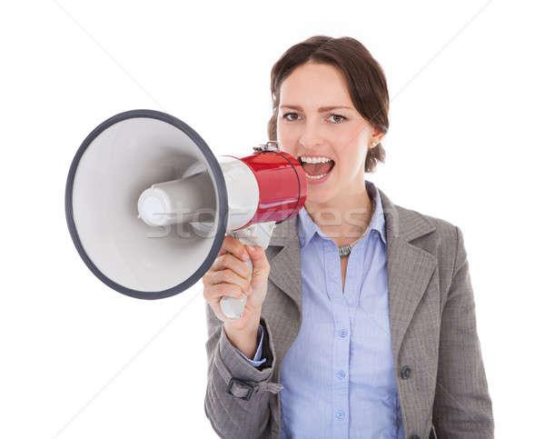 Empresária megafone jovem branco mulher Foto stock © AndreyPopov