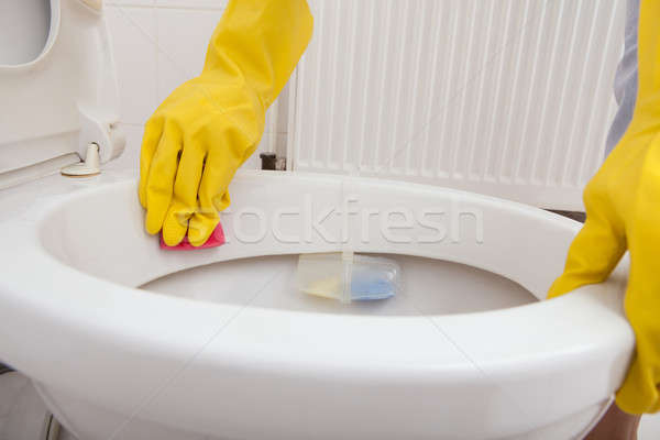 Person's Hand Cleaning Toilet Stock photo © AndreyPopov