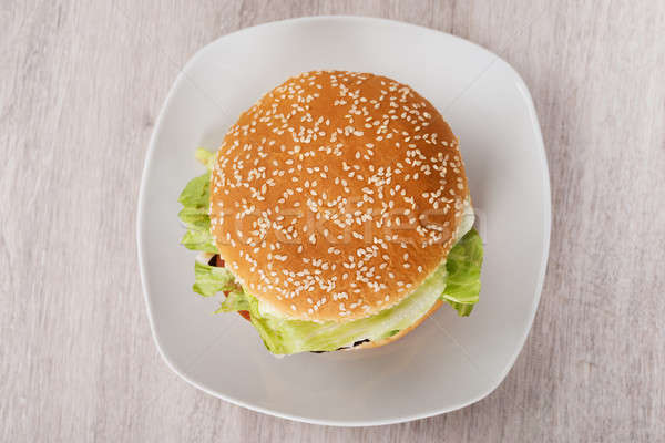 Burger In Plate On Floor Stock photo © AndreyPopov