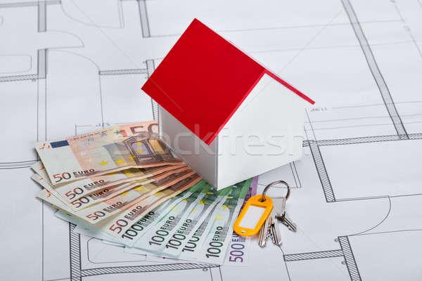 Közelkép ház modell bankjegyek kulcsok terv Stock fotó © AndreyPopov