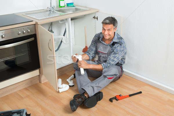 Encanador afundar tubo cozinha Foto stock © AndreyPopov