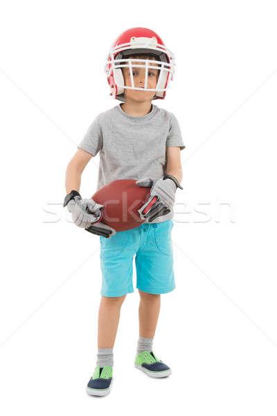 Stockfoto: Jongen · sport · helm · rugby · witte
