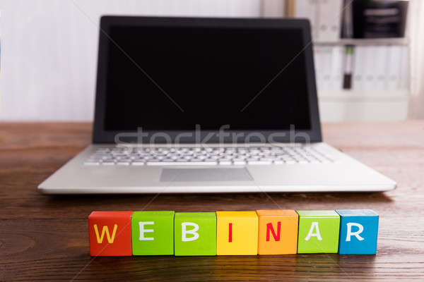 Webinar Text In Front Of Laptop Stock photo © AndreyPopov