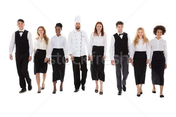 Restaurante pessoal caminhada branco retrato feliz Foto stock © AndreyPopov
