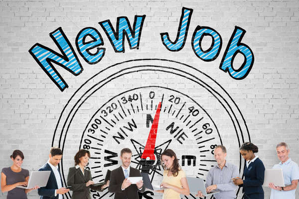 Group Of People In Front Of New Job Words Stock photo © AndreyPopov