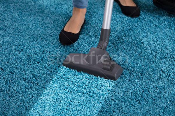 真空掃除機 洗浄 カーペット クローズアップ 青 ストックフォト © AndreyPopov