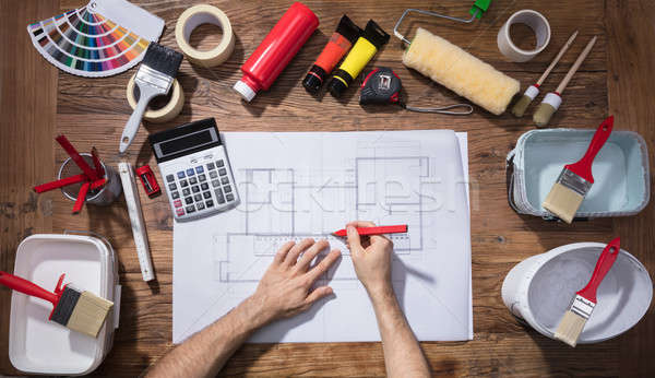 архитектора рисунок чертежи деревянный стол мнение Сток-фото © AndreyPopov