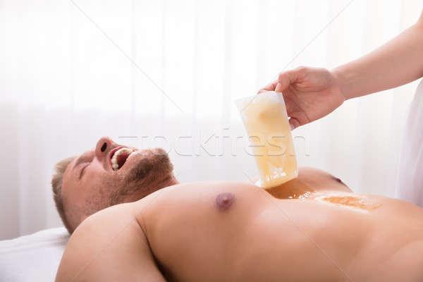 Depilação com cera peito mão estância termal cabelo Foto stock © AndreyPopov