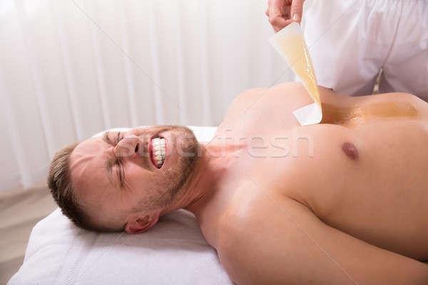 Depilação com cera peito mão estância termal corpo Foto stock © AndreyPopov