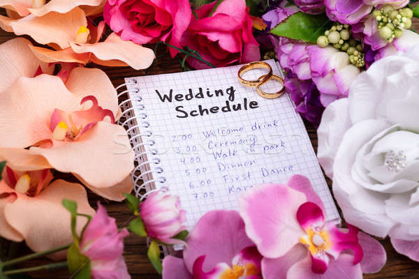 Wedding calendario spirale notepad anelli Foto d'archivio © AndreyPopov