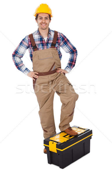 Portrait of repairman standing on toolbox Stock photo © AndreyPopov