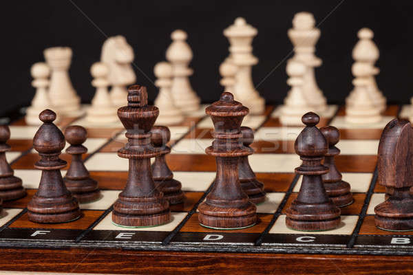 Tablero de ajedrez primer plano tiro negocios mesa ajedrez Foto stock © AndreyPopov