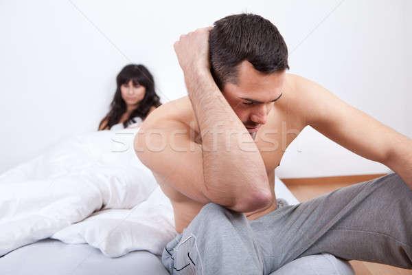 けんか ホーム 座って ベッド 女性 ストックフォト © AndreyPopov