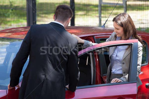 セールスマン 新しい車 女性実業家 ビジネス ストックフォト © AndreyPopov