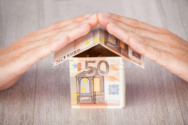 рук евро дома таблице бизнеса Сток-фото © AndreyPopov