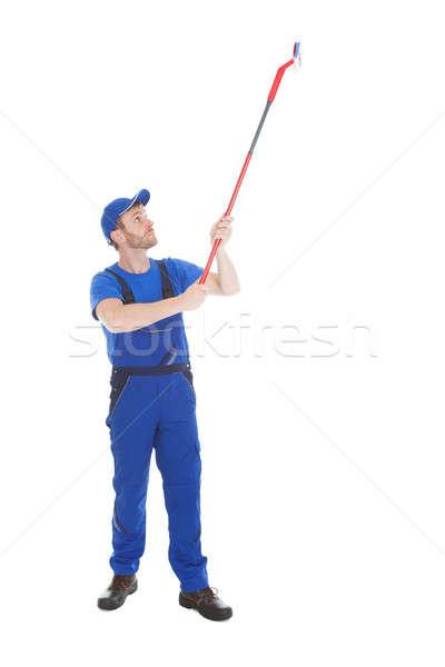Stockfoto: Dienaar · schoonmaken · plafond · witte · jonge