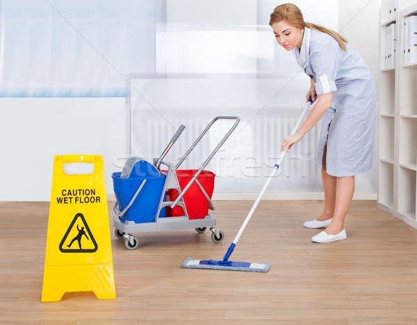 Stok fotoğraf: Mutlu · hizmetçi · temizlik · zemin · portre · genç