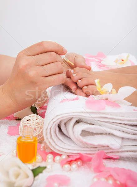 Nagel vernis bloem handen Stockfoto © AndreyPopov