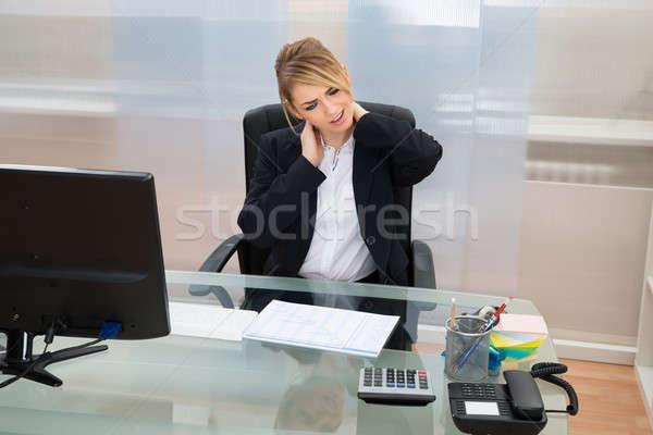 Stockfoto: Jonge · zakenvrouw · lijden · portret · business · computer