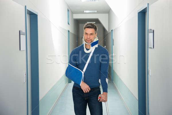 özürlü adam hastane portre ayakta tıbbi Stok fotoğraf © AndreyPopov