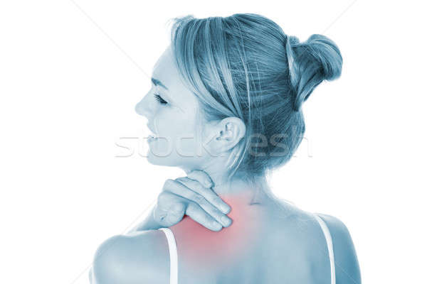 Vrouw lijden schouderpijn witte achteraanzicht triest Stockfoto © AndreyPopov