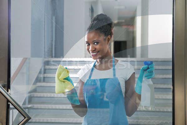 Mulher limpeza vidro trapo retrato sorridente Foto stock © AndreyPopov