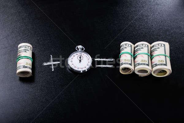 Profitto cronometro lavagna soldi tempo Foto d'archivio © AndreyPopov