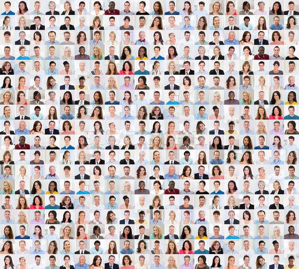 Kollázs mosolyog emberek sokoldalú több nemzetiségű vegyes Stock fotó © AndreyPopov