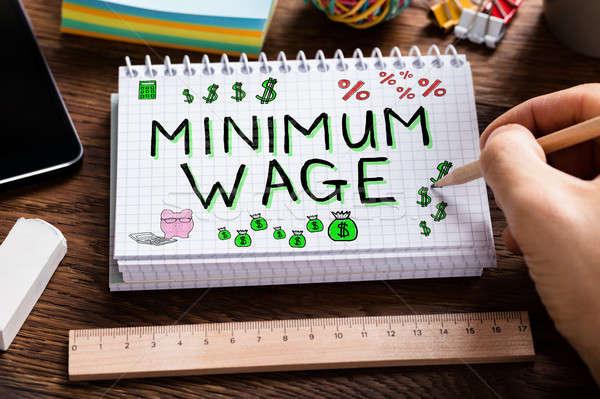 Сток-фото: заработная · плата · социальное · обеспечение · стороны · рисунок · блокнот · столе