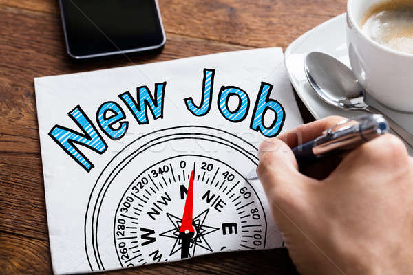 Kéz rajz új állás foglalkoztatás jegyzettömb könyvek Stock fotó © AndreyPopov