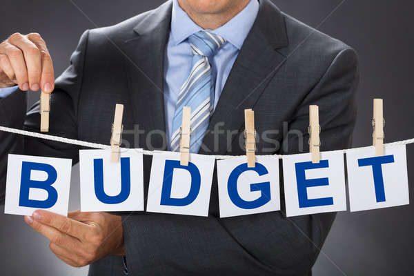 Businessman Pinning BUDGET Cards On Clothesline Stock photo © AndreyPopov