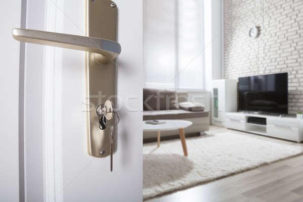 Deur behandelen sleutel sleutelgat huis Stockfoto © AndreyPopov