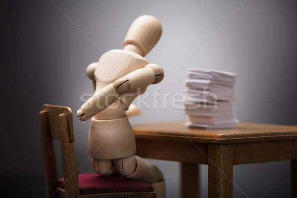 Wooden Dummy Figure Suffering From Backache Stock photo © AndreyPopov