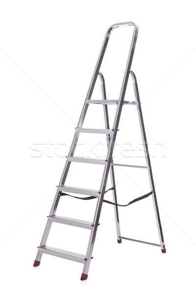 фото алюминий лестнице изолированный белый работу Сток-фото © AndreyPopov