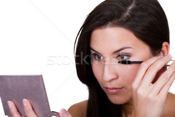 Mooie vrouw mascara mooie jonge brunette Stockfoto © AndreyPopov
