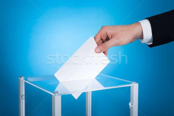 Işadamı kâğıt seçim kutu görüntü mavi Stok fotoğraf © AndreyPopov